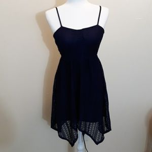 Juniors Navy Lace Dress with Keyhole Back